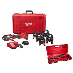 M18 18-Volt Lithium-Ion Brushless Cordless 1/2 in. - 2 in. Press Tool Kit With 2-1/2 in. - 4 in. Press Ring Kit Set