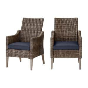 Rock Cliff Brown Wicker Outdoor Patio Stationary Dining Chair with CushionGuard Midnight Navy Blue Cushions (2-Pack)