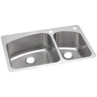 Dual Mount Stainless Steel 33 in. 2-Hole 60/40 Double Bowl Kitchen Sink