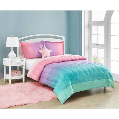 Jada Celestial Ombre 4-Piece Reversible Comforter Set with Decorative Pillow, Pink, Twin