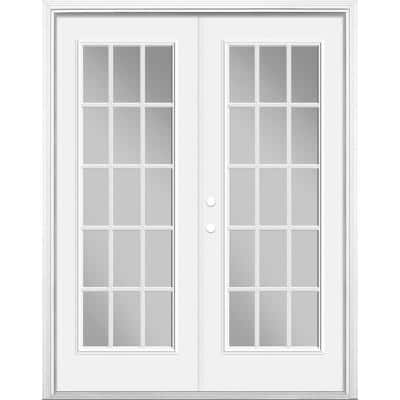 60 in. x 80 in. Primed White Steel Prehung Right-Hand Inswing 15-Lite Clear Glass Patio Door Vinyl Frame with Brickmold