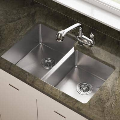 Undermount Stainless Steel 31-1/4 in. Double Bowl Kitchen Sink