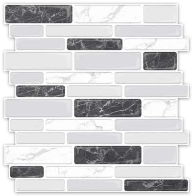 Staggered Marble Design 12 in. H x 12 in. H Vinyl Peel and Stick Tile Self-Adhesive Mosaic Backsplash (10 sq. ft./Pack)