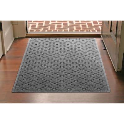 Aqua Shield Argyle Medium Gray 34 in. x 52 in. Recycled Polyester/Rubber Indoor Outdoor Door Mat