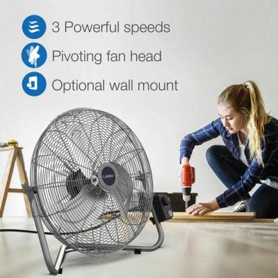 High Velocity 20 in. 3 Speed Metallic Floor Fan with QuickMount Wall-Mounting System
