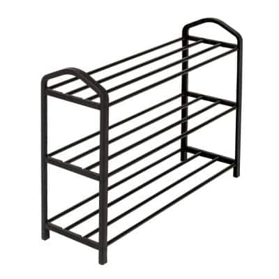 17 in. H x 25 in. W 12-Pair 3-Shelf Black Steel and Plastic Wire Shoe Rack
