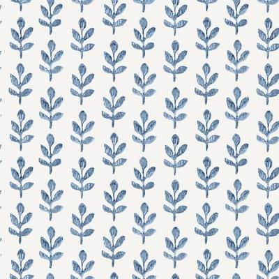 Whiskers Blue Leaf Wallpaper