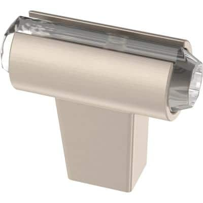 Acrylic Accent 1-7/16 in. (36 mm) Satin Nickel with Clear Bar Cabinet Knob
