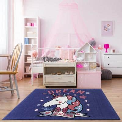 Jojo Siwa Unicorn Multi-Colored 5 ft. x 7 ft. Indoor Polyester Area Rug