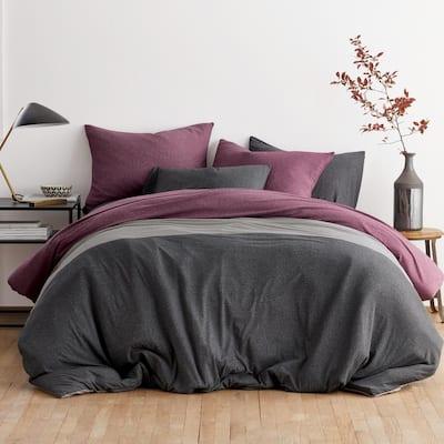 Logan Jersey Cotton Blend Full Duvet Cover in Berry Multi