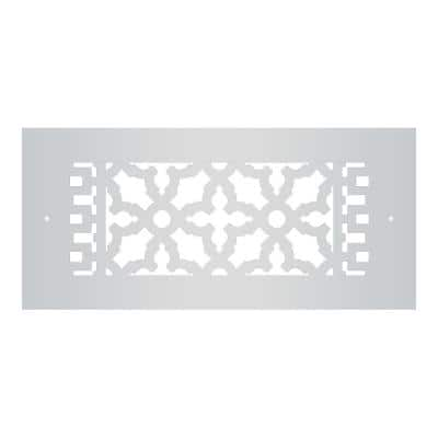 Scroll Series 10 in. x 4 in. Aluminum Grille, Gray with Mounting Holes