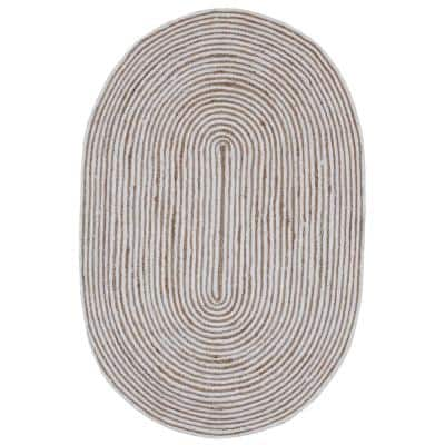 Jute and White Cotton Racetrack 4 ft. x 6 ft. Oval Area Rug
