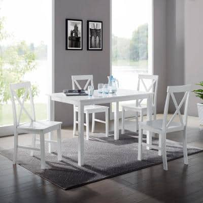 5-Piece White Solid Wood Farmhouse Dining Set