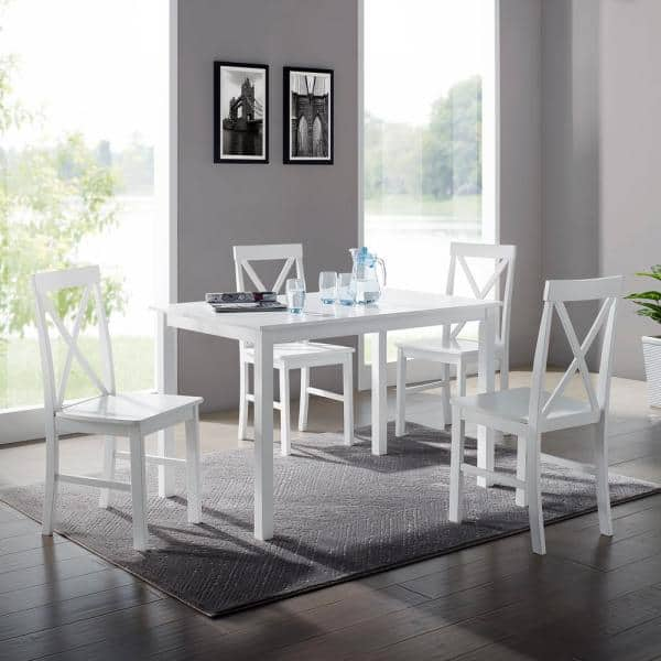 Welwick Designs 5 Piece White Solid, White Dining Room Table And Chairs