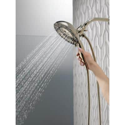 In2ition Two-in-One 5-Spray 6.9 in. Dual Wall Mount Fixed and Handheld H2Okinetic Shower Head in Polished Nickel
