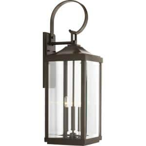 Gibbes Street Collection 3-Light Antique Bronze Clear Beveled Glass New Traditional Outdoor Large Wall Lantern Light