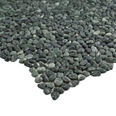 Pebblini Mini Seaweed Green 12 in. x 12 in. Pebble Stone Mosaic Tile (10.63 sq. ft. / Case)