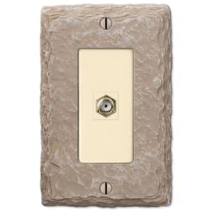 Faux Slate 1 Gang Coax Resin Wall Plate - Almond