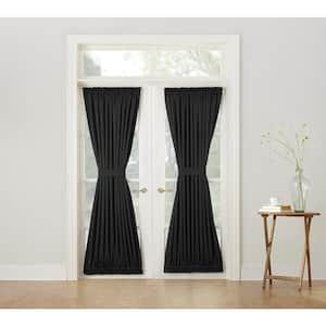 Black Solid Rod Pocket Room Darkening Curtain - 54 in. W x 72 in. L