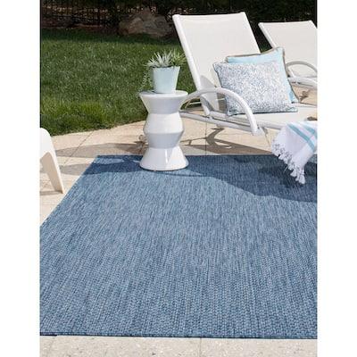 Outdoor Solid Blue 9' 0 x 12' 0 Area Rug