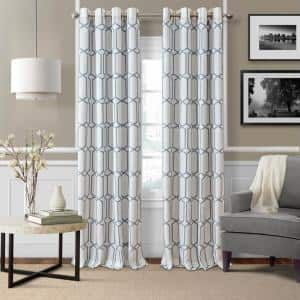 Soft Blue Trellis Blackout Curtain - 52 in. W x 95 in. L