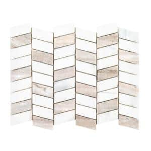Rosewood White 12 in. x 9.5 in. Chevron Polished Marble Wall and Floor Mosaic Tile (0.791 sq. ft./Each)