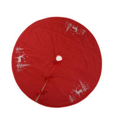 56 in. Deer in Snowing Forest Round Christmas Tree Skirt in Red