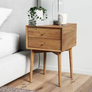 Harper Mid-Century Brown Oak Wood Nightstand with 2-Drawers Small Side Table or End Table with Storage