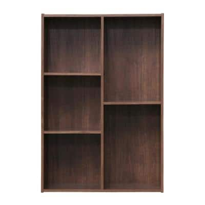 34.67 in. Brown Faux Wood 5-shelf Standard Bookcase with Cubes