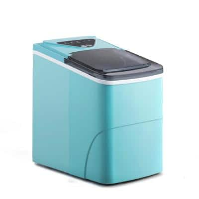 8.7 in. W 26 lbs./24h Portable Countertop Ice Maker Machine, Compact Automatic Ice Maker in Blue with Scoop and Basket