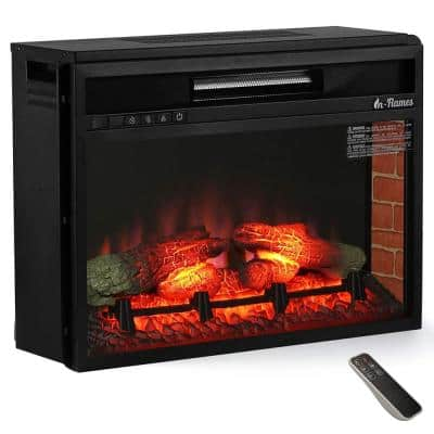 In Flames 26 in. 1500-Watt Electric in-Wall Recessed Electric Fireplace Infrared Space Heater with 7 Flame Effects