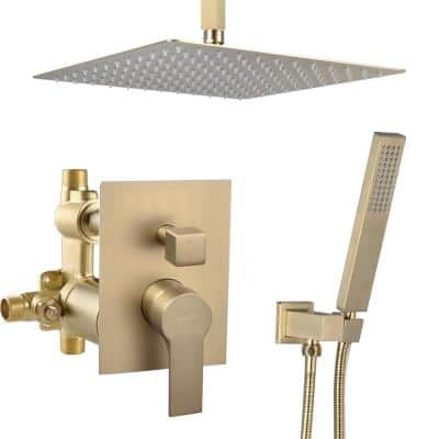 Roberts Single-Handle 2-Spray Square High Pressure Shower Faucet in Brushed Gold (Valve Included)