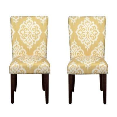 Parsons Yellow and Cream Damask Upholstered Dining Chair Set of 2