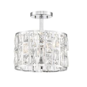 Dale Tiffany Meridith 3 Light Polished Chrome Crystal Semi Flush Mount Light Gh11235pc The Home Depot