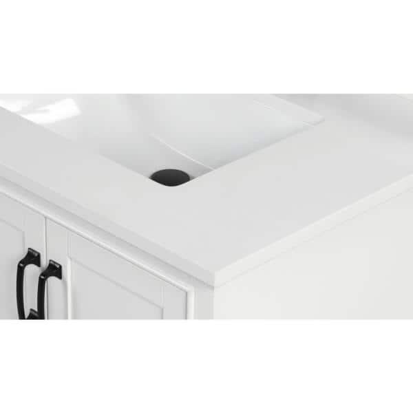Home Decorators Collection 73 In W X 22 In D X 0 75 In H Quartz Vanity Top In Snow White With White Basins Th0483 The Home Depot