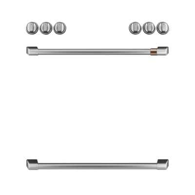 Front Control Gas Range Handle and Knob Kit in Brushed Stainless