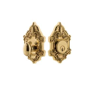 Victorian Plate 2-3/8 in. Backset Single Cylinder Deadbolt in Polished Brass