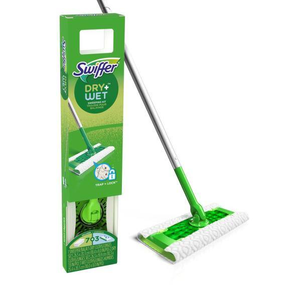FLAT FLOOR CLEANING MOP with 10 WIPES kitchen tile wood bathroom sweeper
