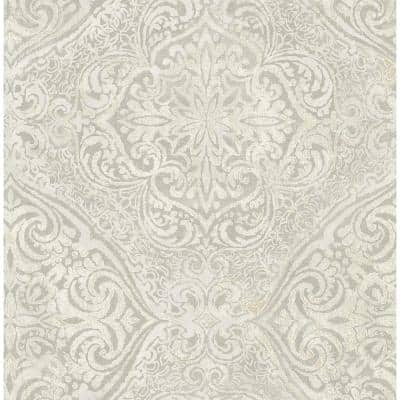 Palladium Metallic Champagne and Grey Damask Paper Strippable Roll (Covers 56.05 sq. ft.)