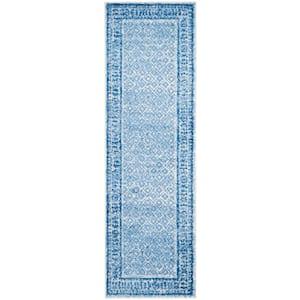 Adirondack Silver/Blue 3 ft. x 12 ft. Runner Rug