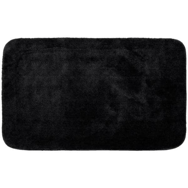 Garland Rug Traditional Black 30 In X 50 In Plush Nylon Bath Mat Ba010w030050j9 The Home Depot
