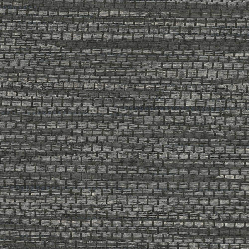 Kenneth James Cotabato Charcoal Grasscloth Peelable Roll Covers 72 Sq Ft 2732 80050 The Home Depot