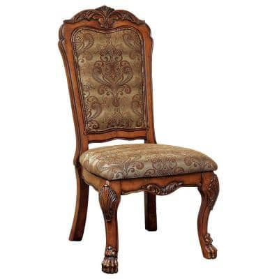 Medieve Antique Oak Traditional Style Side Chair