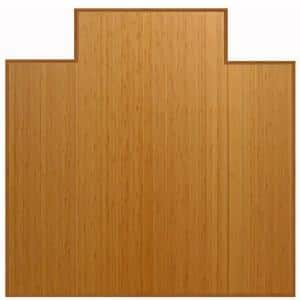Plush Natural Light Brown 47 in. x 51 in. Bamboo Tri-Fold Office Chair Mat with Lip