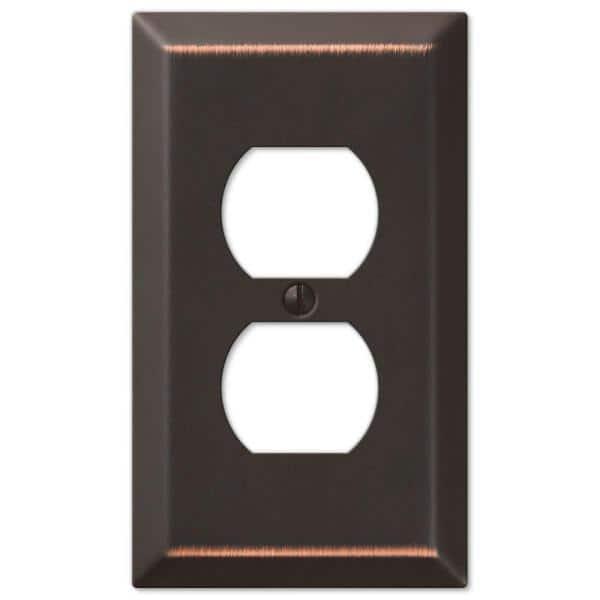 Hampton Bay Metallic 1 Gang Duplex Steel Wall Plate Aged Bronze 163ddbhb The Home Depot