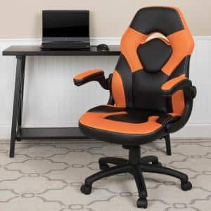 Orange LeatherSoft Upholstery Racing Game Chair