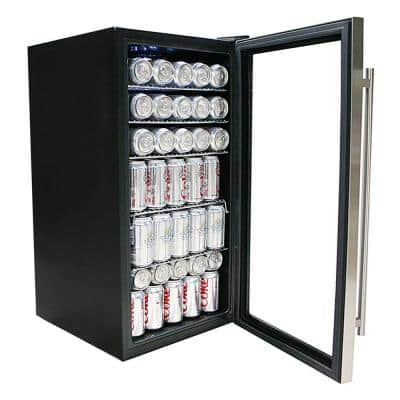 17 in. 120 (12 oz.) Can Cooler in Black/Stainless Steel