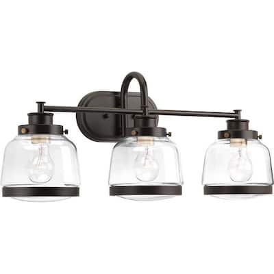 Judson Collection 3-Light Antique Bronze Clear Glass Farmhouse Bath Vanity Light