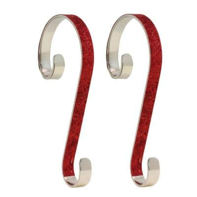 6 in. Steel Red Glitter Stocking Scrolls Holders (2-Pack)