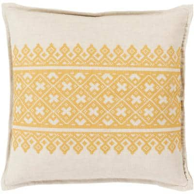 Chilton Yellow Geometric Polyester 20 in. x 20 in. Throw Pillow